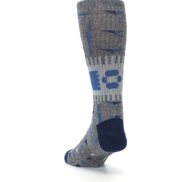 Image of Gray Navy Ericeira Pattern Men's Casual Socks (side-2-back-16)