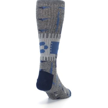 Image of Gray Navy Ericeira Pattern Men's Casual Socks (side-1-back-20)