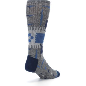 Image of Gray Navy Ericeira Pattern Men's Casual Socks (side-1-back-21)