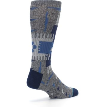Image of Gray Navy Ericeira Pattern Men's Casual Socks (side-1-back-22)