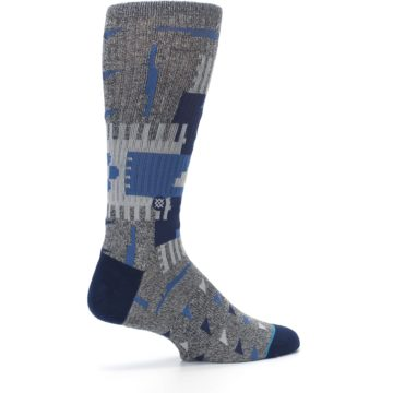 Image of Gray Navy Ericeira Pattern Men's Casual Socks (side-1-23)