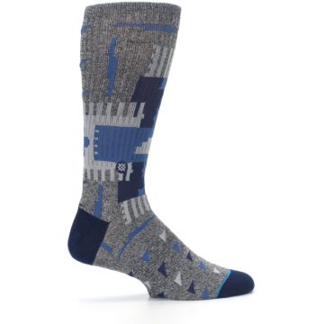 Image of Gray Navy Ericeira Pattern Men's Casual Socks (side-1-24)