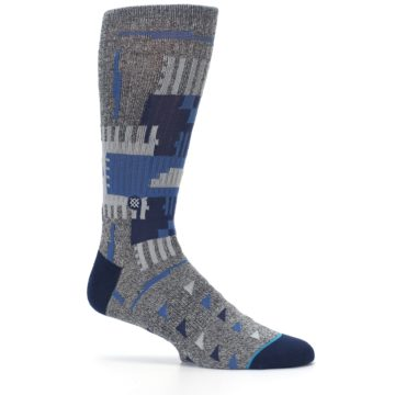 Image of Gray Navy Ericeira Pattern Men's Casual Socks (side-1-25)