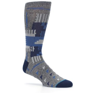 Image of Gray Navy Ericeira Pattern Men's Casual Socks (side-1-26)