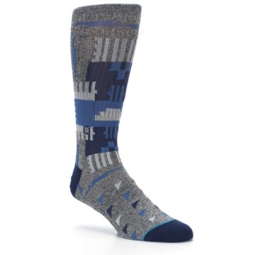 Image of Gray Navy Ericeira Pattern Men's Casual Socks (side-1-27)