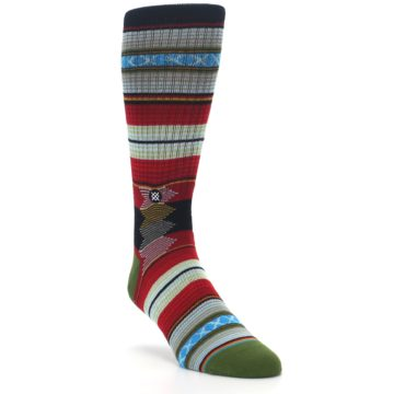Image of Red Green Guadalupe Stripe Men's Casual Socks (side-1-front-02)
