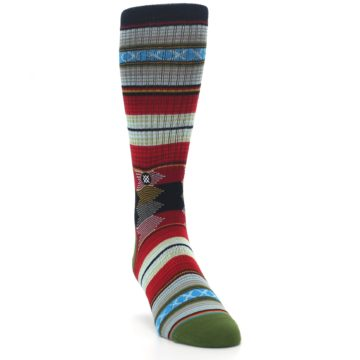 Image of Red Green Guadalupe Stripe Men's Casual Socks (side-1-front-03)