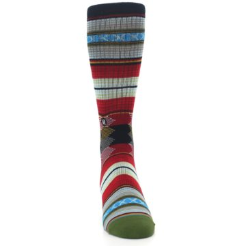 Image of Red Green Guadalupe Stripe Men's Casual Socks (front-04)