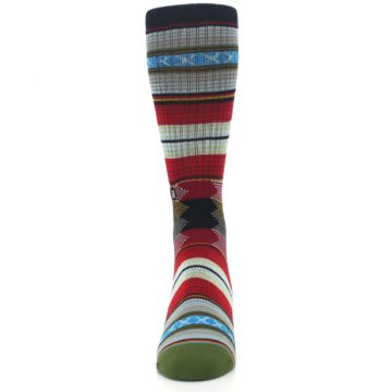 Image of Red Green Guadalupe Stripe Men's Casual Socks (front-05)