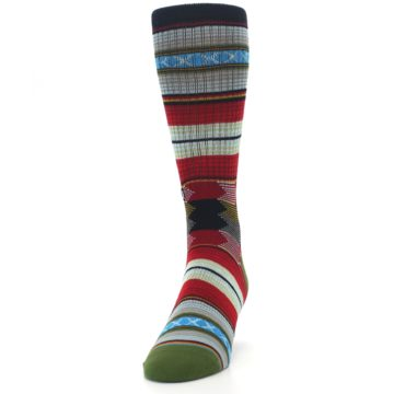 Image of Red Green Guadalupe Stripe Men's Casual Socks (side-2-front-06)