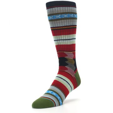 Image of Red Green Guadalupe Stripe Men's Casual Socks (side-2-front-08)