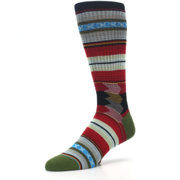 Image of Red Green Guadalupe Stripe Men's Casual Socks (side-2-09)