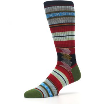 Image of Red Green Guadalupe Stripe Men's Casual Socks (side-2-10)