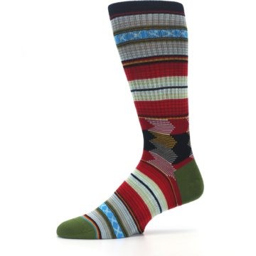 Image of Red Green Guadalupe Stripe Men's Casual Socks (side-2-11)