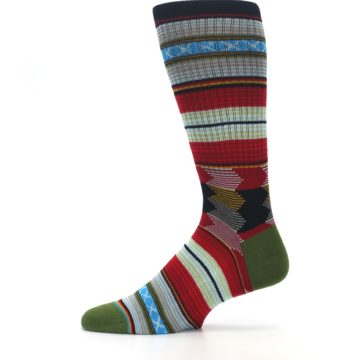 Image of Red Green Guadalupe Stripe Men's Casual Socks (side-2-12)