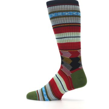 Image of Red Green Guadalupe Stripe Men's Casual Socks (side-2-13)