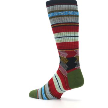 Image of Red Green Guadalupe Stripe Men's Casual Socks (side-2-back-14)