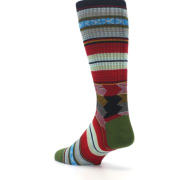 Image of Red Green Guadalupe Stripe Men's Casual Socks (side-2-back-15)