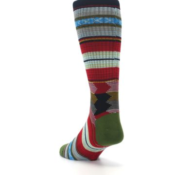 Image of Red Green Guadalupe Stripe Men's Casual Socks (side-2-back-16)