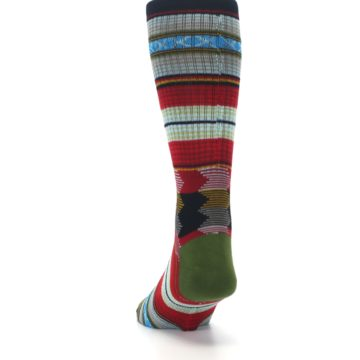 Image of Red Green Guadalupe Stripe Men's Casual Socks (back-17)