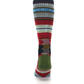 Image of Red Green Guadalupe Stripe Men's Casual Socks (back-18)