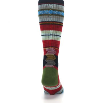 Image of Red Green Guadalupe Stripe Men's Casual Socks (back-19)