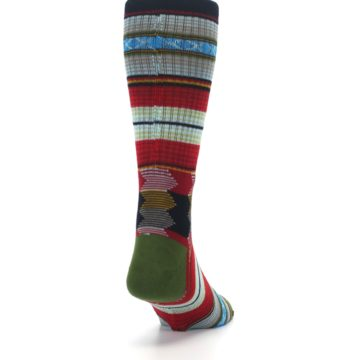Image of Red Green Guadalupe Stripe Men's Casual Socks (side-1-back-20)