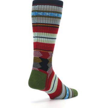 Image of Red Green Guadalupe Stripe Men's Casual Socks (side-1-back-22)