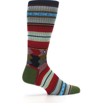 Image of Red Green Guadalupe Stripe Men's Casual Socks (side-1-24)
