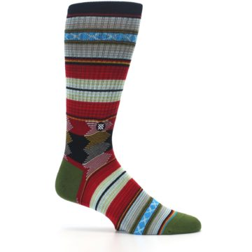 Image of Red Green Guadalupe Stripe Men's Casual Socks (side-1-25)