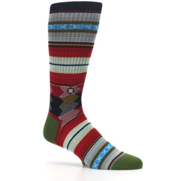 Image of Red Green Guadalupe Stripe Men's Casual Socks (side-1-26)