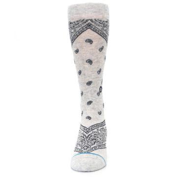 Image of Light Gray Barrio Paisley Men's Casual Socks (front-05)