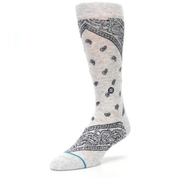 Image of Light Gray Barrio Paisley Men's Casual Socks (side-2-front-08)