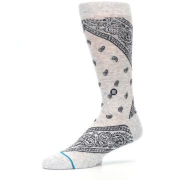 Image of Light Gray Barrio Paisley Men's Casual Socks (side-2-10)
