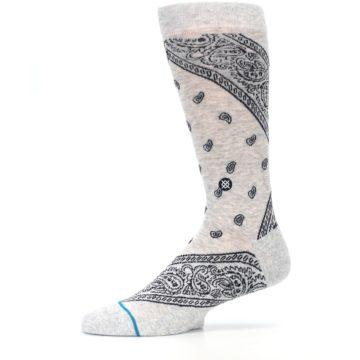 Image of Light Gray Barrio Paisley Men's Casual Socks (side-2-11)