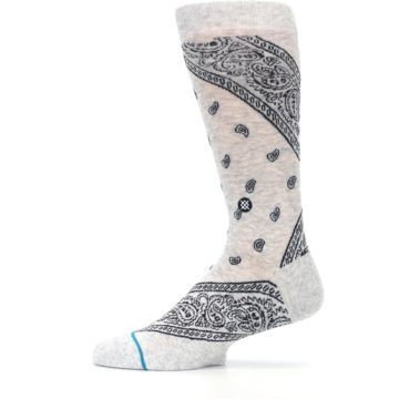 Image of Light Gray Barrio Paisley Men's Casual Socks (side-2-12)