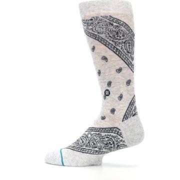 Image of Light Gray Barrio Paisley Men's Casual Socks (side-2-13)