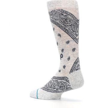 Image of Light Gray Barrio Paisley Men's Casual Socks (side-2-back-14)