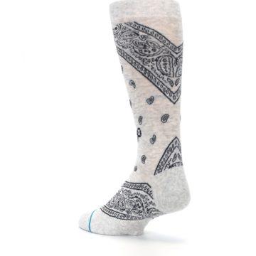 Image of Light Gray Barrio Paisley Men's Casual Socks (side-2-back-15)