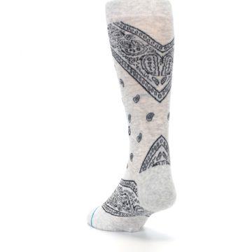 Image of Light Gray Barrio Paisley Men's Casual Socks (side-2-back-16)