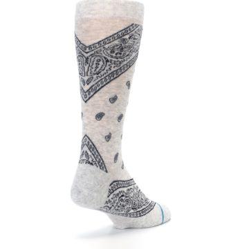 Image of Light Gray Barrio Paisley Men's Casual Socks (side-1-back-21)