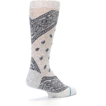 Image of Light Gray Barrio Paisley Men's Casual Socks (side-1-back-22)