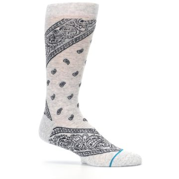 Image of Light Gray Barrio Paisley Men's Casual Socks (side-1-25)