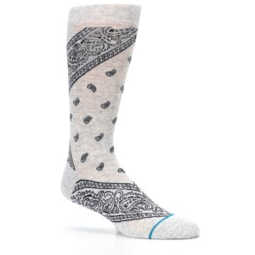 Image of Light Gray Barrio Paisley Men's Casual Socks (side-1-26)