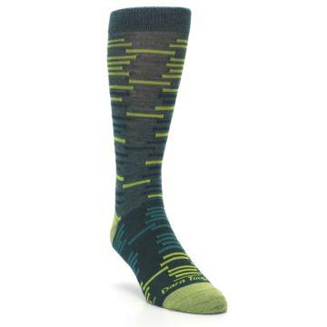 Image of Green Lime Block Stripe Wool Men's Socks (side-1-front-02)
