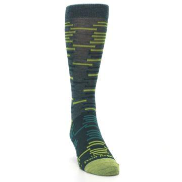 Image of Green Lime Block Stripe Wool Men's Socks (side-1-front-03)