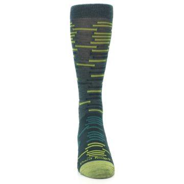 Image of Green Lime Block Stripe Wool Men's Socks (front-04)