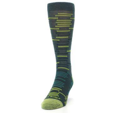 Image of Green Lime Block Stripe Wool Men's Socks (side-2-front-06)