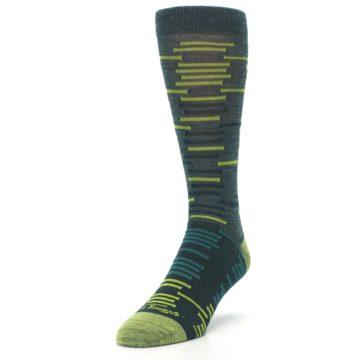 Image of Green Lime Block Stripe Wool Men's Socks (side-2-front-07)