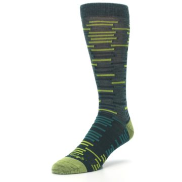 Image of Green Lime Block Stripe Wool Men's Socks (side-2-front-08)